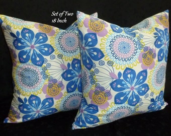 Decorative Pillow Covers / Throw Pillows / Accent Pillows - Blue, Lime and White Floral - Set of Two 18 Inch