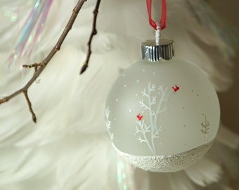 Glittering Textured Snow Scene - Hand Painted Christmas Ornament, Cardinals in White Trees, Glass Ornament, Cardinal Ornament