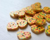 Yellow Heart Buttons - Wooden Painted Set of 20 - Lot 366