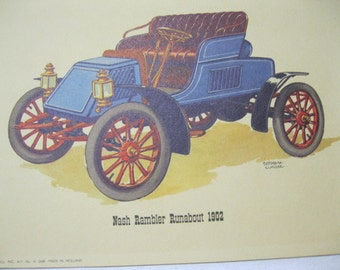 1902 Auto Print Nash Rambler Runabout Artist Frederick Elmiger Copyright '58 Donald Art Co NY No H 2648 Made in Holland Vintage Car to Frame