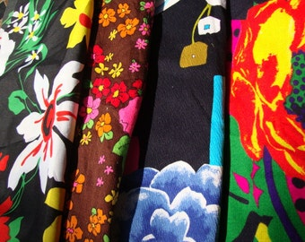 Four Pieces of 1970's Retro Fabric Polyester Cotton Floral Print Vintage Fabric Neon Colors Fabric Repurpose Upcycle 108