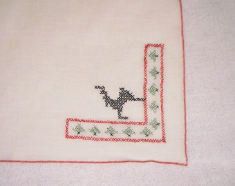 Reindeer Christmas Hand-stitched Holiday Bread Cloth