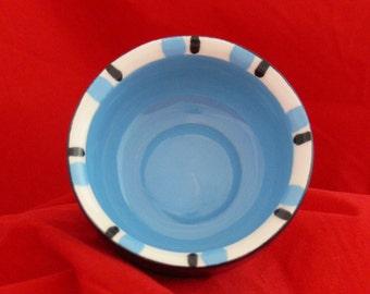 Vibrant Blue And Black Glazed Ceramic Mini Bowl