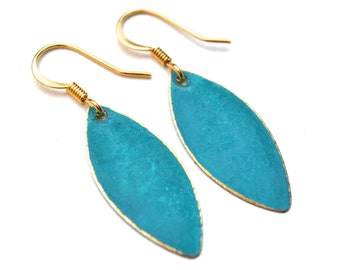 Turquoise Patina and Gold Marquise Drops . Earrings . Mara Collection