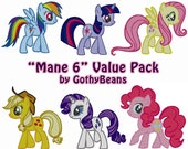 Set of All 6 My Little Pony Main Characters - Embroidery Design File - Instant Downloads - Any Machine - Any Size
