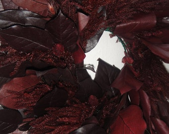 Salal Wreath   Fall Wreath    Burgundy Wreath   Preserved Salal Wreath   Hand Crafted Wreath  Natural Wreath
