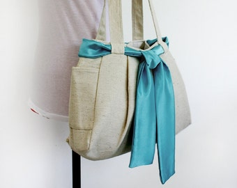 CHRISTMAS SALE 10% off Organic Hemp/Cotton Tote with Satin Sash / Shoulder Bag / Diaper bag / Women Everyday bag 2 Side Pockets