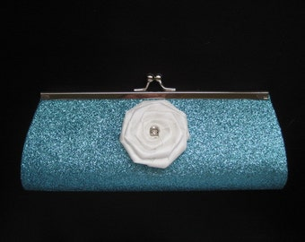 Small Clutch or Handle Purse- Turquoise Blue Glitter -White Flower - Formal- Prom- Wedding- Bridesmaid- Something Blue- Aqua- Teal