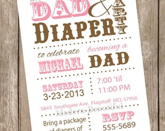 Dad diaper baby shower invitation, diaper baby shower, dad baby shower, brown, pink, printable invitation
