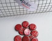 10 Wild Cherry red Arrow Soda Pop Bottle Caps scrapbook