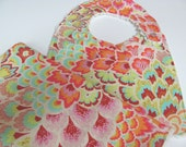 Baby Girl Bib and Burp Cloth in Amy Butler Peacock Feathers and Cream Chenille, Pink, Aqua, Orange,