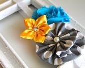 Grey polka dot, turquoise and yellow headband for newborn-toddler-baby girl-child-teen-adult
