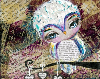 Mixed Media Owl Big Eye Giclee Art Print Signed Reproduction PS I Love You by Lizzy Love [img#94]