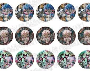 Bottlecap Images Digital Collage Sheet One Inch Circles Whimsical Owls Set 1 4x6 Bottle Caps