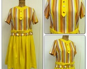 1960s Yellow Linen Skirt Top Set 60s Blouse Outfit