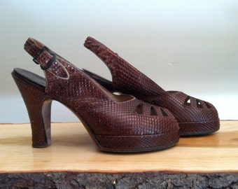 1940s Platforms Snakeskin 40s Brown Slingbacks