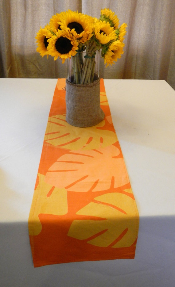 Orange and Yellow Table Runner, Marimekko Fabric, Ready to SHIP, Use for Party, Shower, Home Decor
