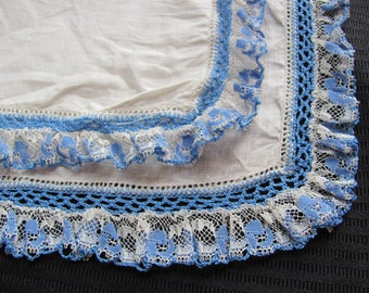 Hankie Vintage Solid White Blue Crocheted Lace Hankie