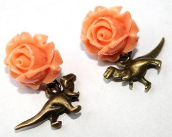 Retro Dino Dinosaur Post Earrings T-Rex Chic Peach Orange Rose Flower Stud Brass Tone