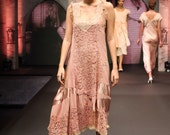 reserved for Danielle ,RUNWAY ITEM! Dazzling flapper dress of Vintage Laces in hues of pink
