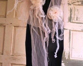 peach tulle scarf belt a touch of distinction on a casual dress