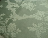 Vintage Woven Designer Upholstery Fabric Spearmint Green with Floral Motif