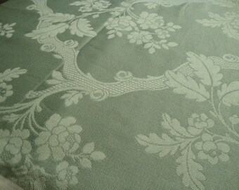 Vintage Yardage Woven Designer Upholstery Fabric Spearmint Green with Floral and Tree Motif