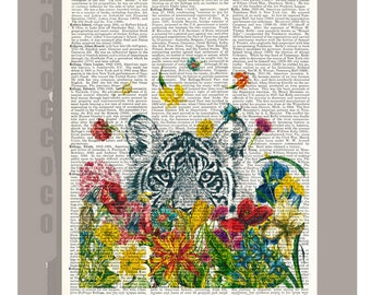 HAPPY Tiger - ORIGINAL ARTWORK  printed on Repurposed Vintage Dictionary page -Upcycled Book Print