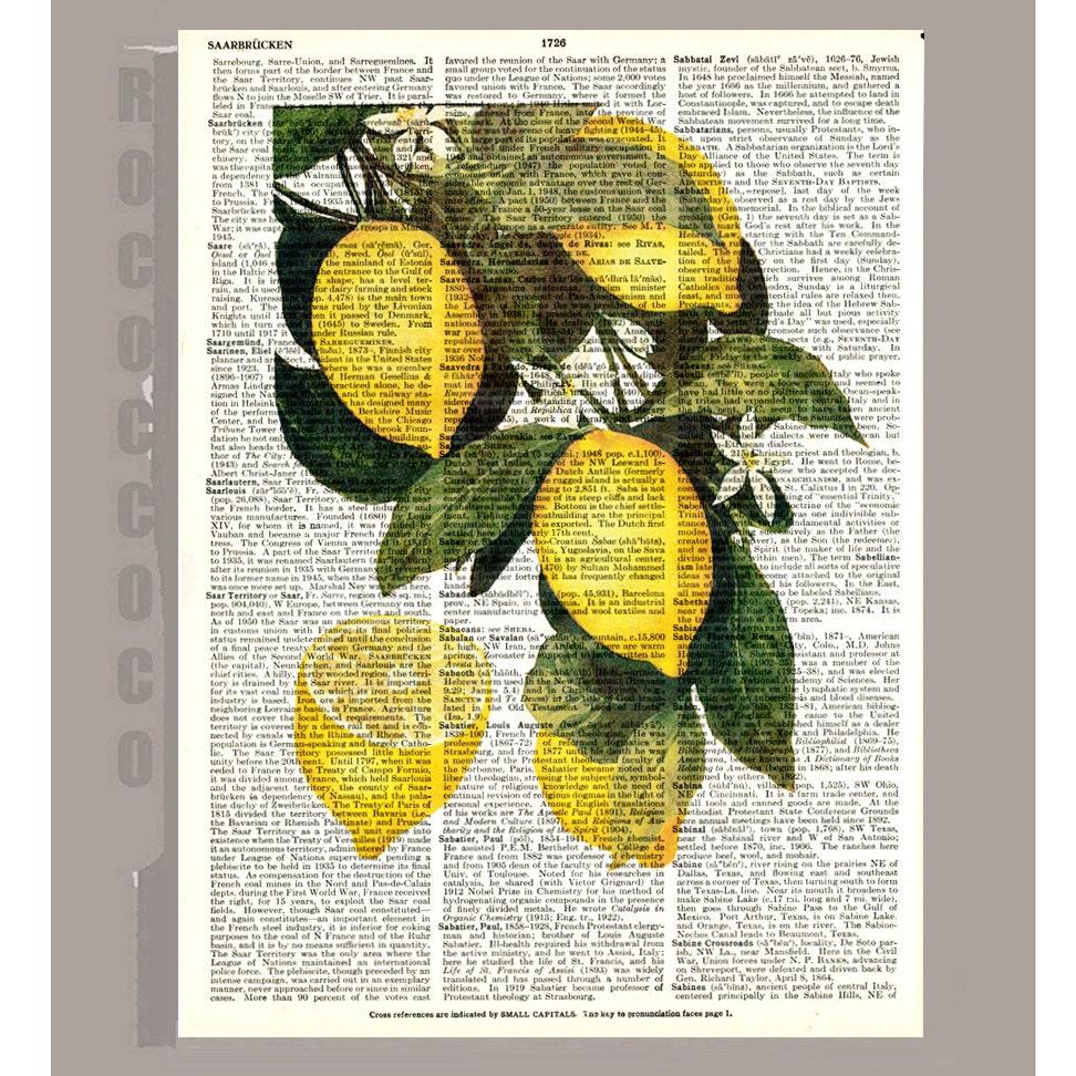 Beautiful Lemon Illustration Print On Vintage Dictionary Book