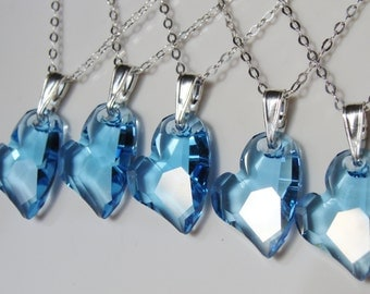 Swarovski Crystal Blue Heart Sterling Silver Necklace
