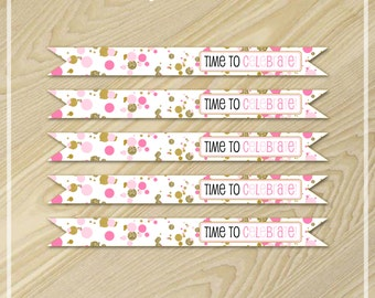 Confetti Party - Pink and Gold Party - Straw Flags - Drink Flags