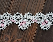 """Off White Venice Lace Pink Rose Embroidered Lace Hollowed Out Lace Trim 1.77"""" Wide 1.65 Yards"""