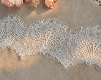 White Eyelash Lace Trim Floral Wave Soft Lace 4.72 Inches Wide 3.3 Yards