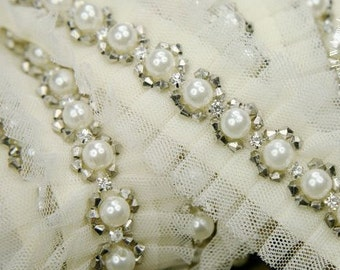 Ivory Beaded Lace Trim Handmade Pearl Beaded Tulle Lace 1.37 Inches Wide 1 Yard