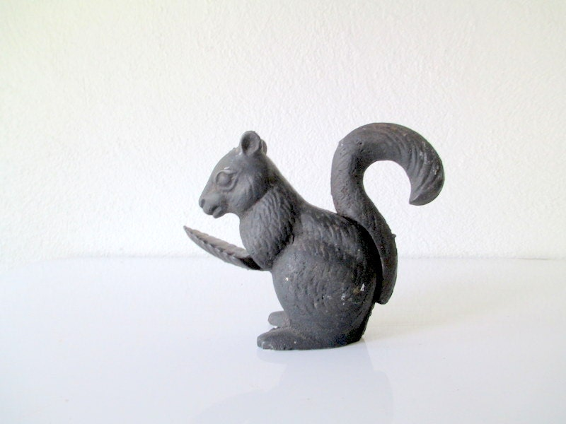 Vintage Cast Iron Squirrel Nutcracker Woodland Rustic