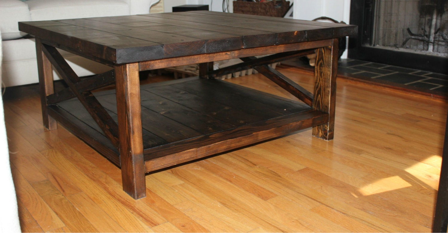 Handcrafted farmhouse coffee table solid wood by for Solid wood farmhouse table