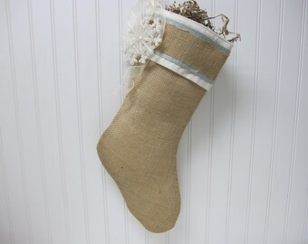 Hand Made Christmas Stocking with blue accents and snow flake ornament