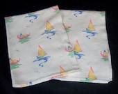 Vintage Dishtowels Sailboat Boats Gondolas Boating Sea Water Set 2 Dish Towels
