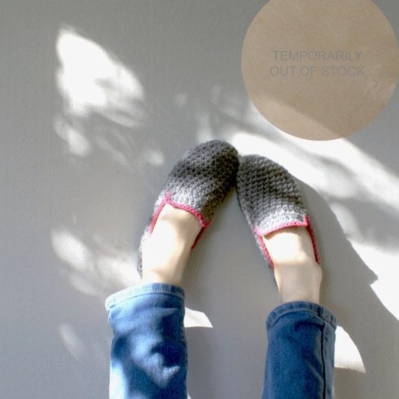 Grey Unisex Crochet Slippers - Custom Color Edging