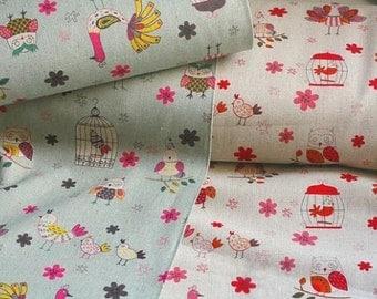 SALE-Japanese Cotton Fabric Yuwa, Linen Fabric, Owl Fabric, Bird Fabric, Animal Fabric, Chicken Fabric, Cute Fabric/Bird in cage/a yard
