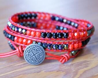 Red Leather wrap bracelet, triple wrap, ruby opal, jet, black, bohemian trendy jewelry, Boho shabby chic, gift, hipster, by OlenaDesigns