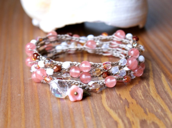 Bohemian crochet wrap bracelet, long necklace, boho chic, bohemian jewelry, brown, beige, pink, white, crystal, heart charm, flower dangle