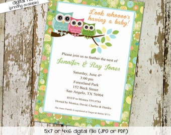 owl baby shower invitation gender neutral gender reveal couples shower diaper twins bring a book coed (item 1378) shabby chic invitation