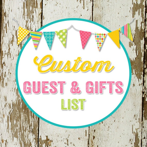 GUEST and GIFT LIST to match any design for baby shower or party, digital, printable file