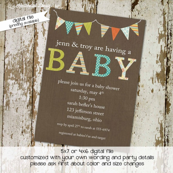gender neutral baby shower invitations coed gender reveal bunting banner sprinkle diaper couples library (item 1413) shabby chic invitations