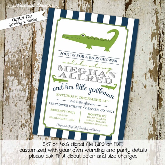 alligator baby shower Baby boy shower invitation navy green stripe little man birthday baptism (item 12101) shabby chic baby shower invites