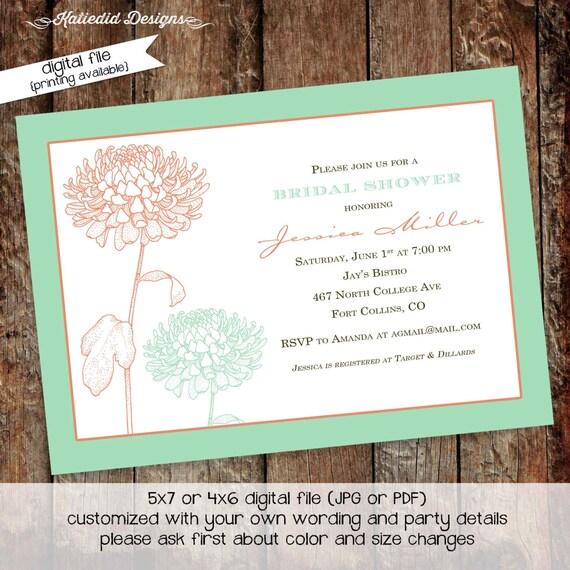 bridal shower invitation floral baby girl shower sprinkle couples coed rehearsal dinner engagement baptism (item 310)