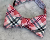Men's Bow Tie in Pink and Gray Plaid - Self tying, pre-tied adjustable strap or clip on - Groomsmen attire