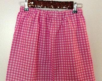 Pink Gingham Skirt Fully Lined