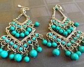 Vintage Gypsy Earrings, Turquoise Gypsy Earrings